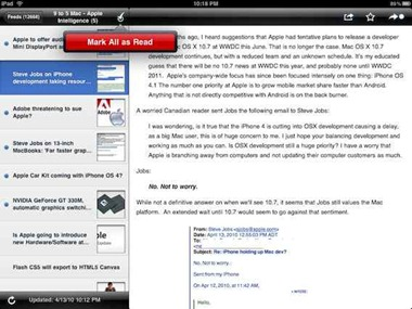 NetNewsWire iPad RSS aoo