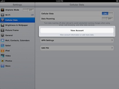 Data plan setup on 3G iPad