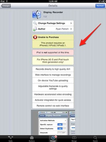 Cydia Now Tells You When an App Is Not iPad Compatible