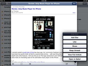 Feeddler RSS Reader iPad app