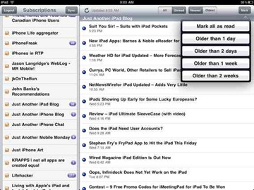 Feeddler RSS Reader on iPad