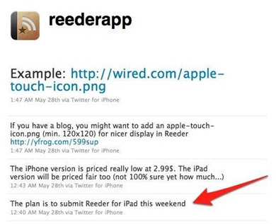 Reeder for iPad tweet