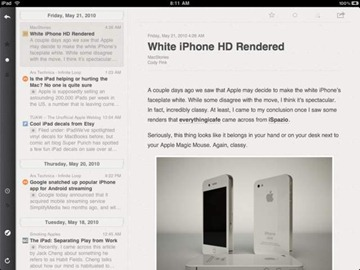 Reeder for iPad RSS app