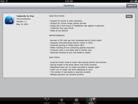 Twitterrific for iPad update