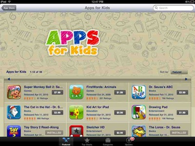 Apps for Kids App Store section