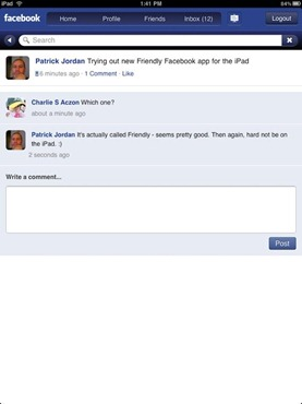 Friendly Facebook Browser for iPad