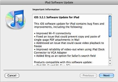 iOS 3.2.1 iPad update