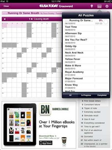 Crosswords in USA Today for iPad