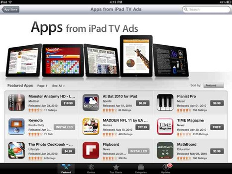 Apps from iPad TV ads