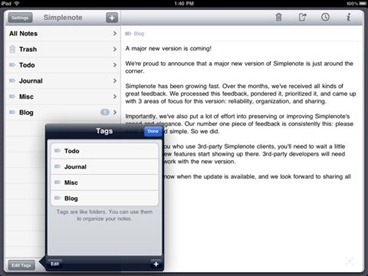Simplenote for iPad