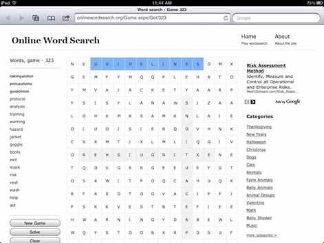 Online Wordsearch iPad web app