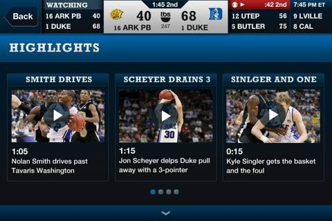 NCAA March Madness on Demand iPad app