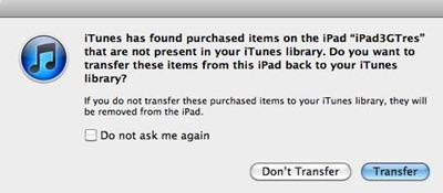 iPad transfer purchases to PC