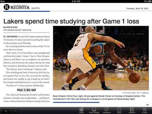 OC Register for iPad: Local Newspaper Shows The Big Guys ...