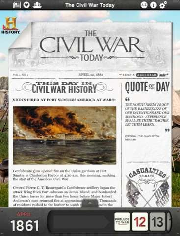 The Civil War Today for iPad – an App Where American History Unfolds A Day at a Time