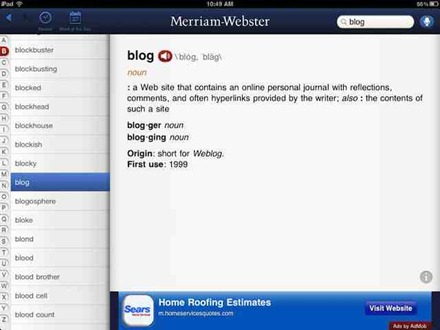 Merriam-Webster Dictionary HD for iPad