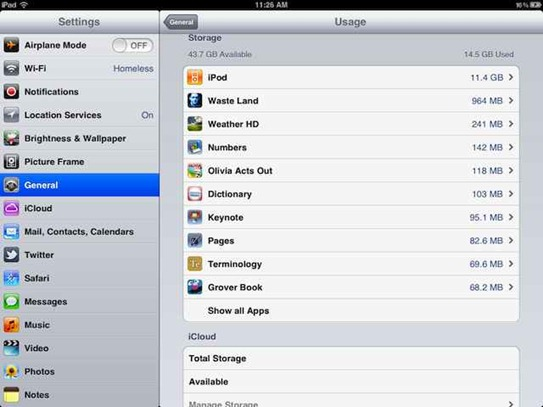 iOS 5 shows space used by each app