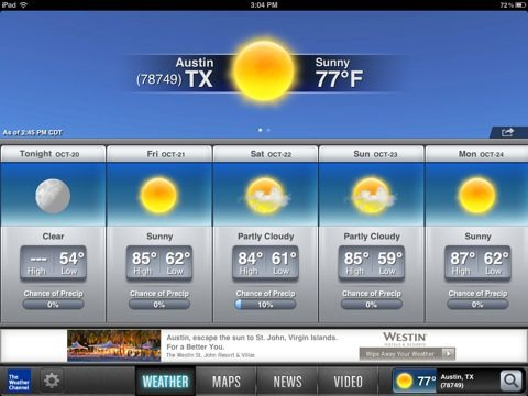 The Weather Channel for iPad Updated – Weather Animations