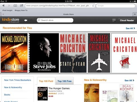 Amazon's Kindle Store for iPad Is Now a Web App | iPad Insight
