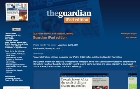 The Guardian iPad Edition Downloaded Half a Million Times, Free