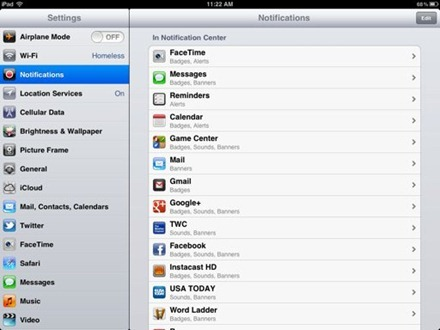 iPad Notifications Settings