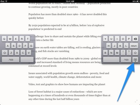 iPad Tips: How To Move the Split Keyboard Around the Page When It's