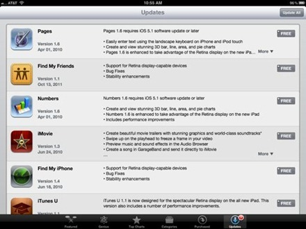 Apple iPad App Updates