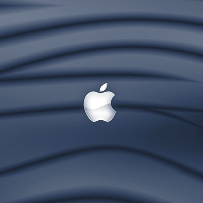 Blue Waves and Bitten Apple Logo iPad Wallpaper