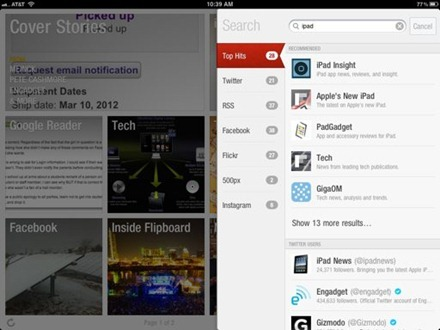 Flipboard iPad Search