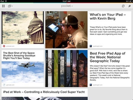 Articles Page on Pocket