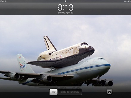 Hitchhiking Space Shuttle iPad lock screen