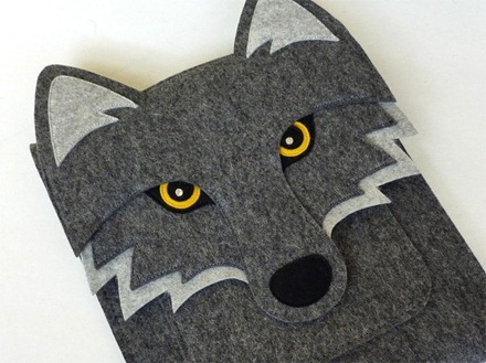 Wolf iPad Sleeve Graphite Felt