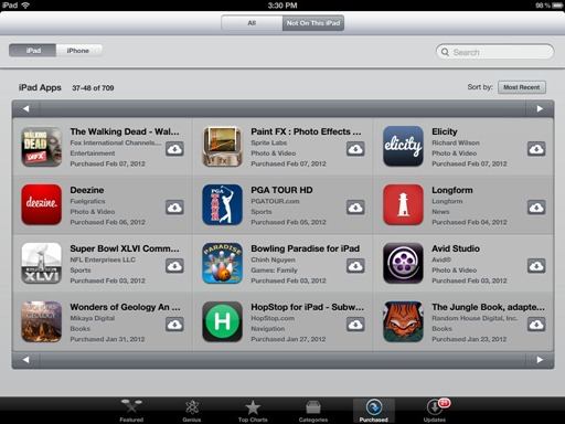 iPad App Store Purchased Area