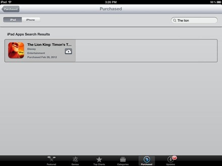 iPad App Store Purchased Section