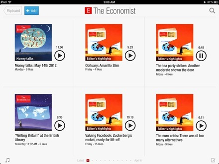 Flipboard The Economist audio page