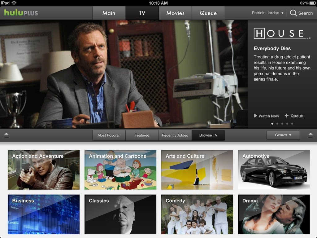 Hulu Plus for iPad Updated – Retina Support and More | iPad