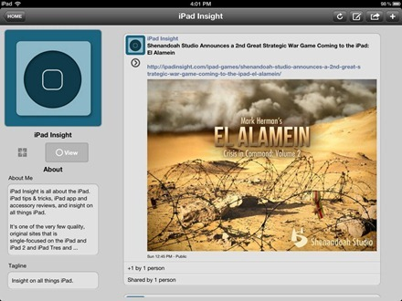 iShare+ for Google+ iPad app