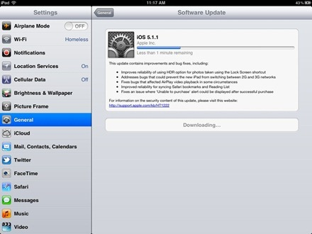 iOS Software Update Downloading