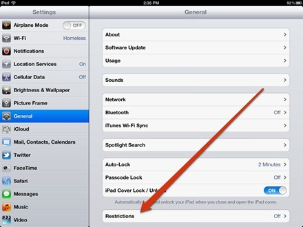 iPad Settings Restrictions