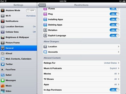 iPad allow changes