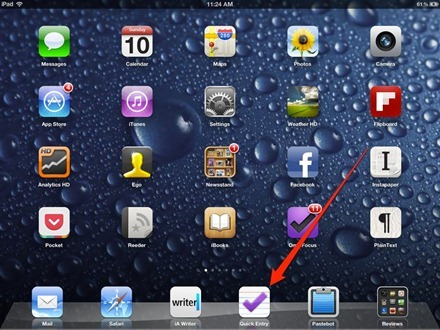 OmniFocus Quick Entry Shortcut for iPad