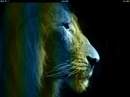 Blue Striped Lion iPad wallpaper
