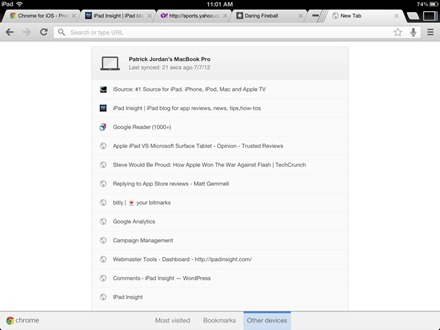 Chrome browser for iPad
