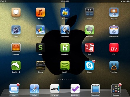 Dark Blue Gradation Apple Logo iPad home screen