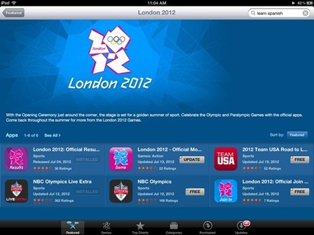 London 2012 iPad App Store Section