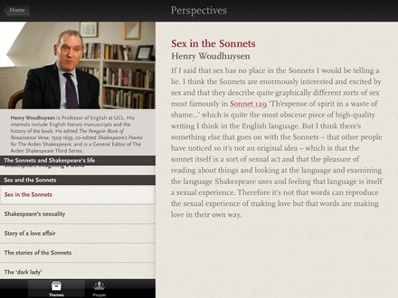 The Sonnets by William Shakespeare iPad app