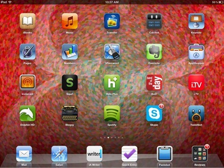 Pointillist Palatino iPad home screen