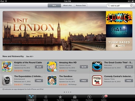 Vist London App Store section