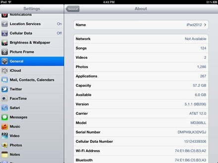 iPad About Page Before