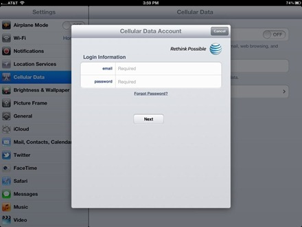 iPad Cellular Data Account login